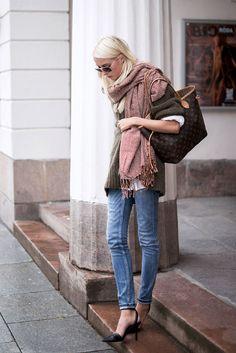 scarf + bag + sweater