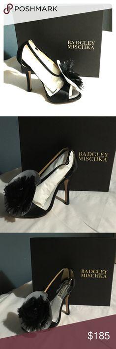 Badgley Mischka Kiwi Black Satin 5.5 Black satin open toe heel with beautiful organza flower and thin black feathers Badgley Mischka Shoes Heels