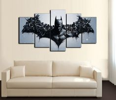 Product Description Item: HD Printed Canvas Material: Canvas printed with high quality Linen/Cotton.Size pieces canvas): 2 pieces 2 pieces and 1 piece ( Inch: Buying Option: No Frame (Unframed): is just the print on a canvas without a wooden frame. Batman Love, Batman Art, Batman Stuff, Poster Pictures, Canvas Pictures, Batman Bedroom, Batman Room Decor, Batman Painting, Desenho Tattoo