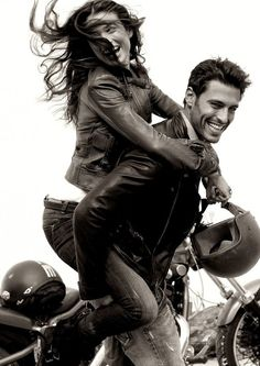men on motorcycles.....always get the girls. -ain't that the truth