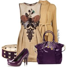 Purple and golden, created by lolly-ravel on Polyvore