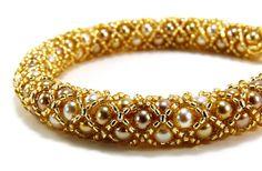 Gold Bracelet Pearl Jewelry Handmade Spiraling by BeadedSeasons