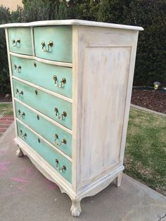 white turquoise dresser - painted dresser - vintage painted furniture #affiliate