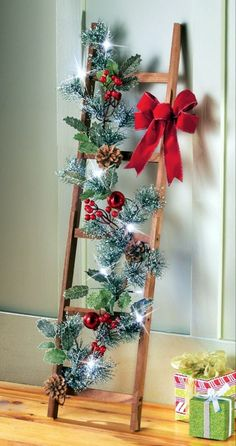 19 Classic Red Christmas Decorations That Are Timeless Christmas Ladder Red Dec. 19 Classic Red Christmas Decorations That Are Timeless Christmas Ladder Red Decoration Christmas Door, Outdoor Christmas, Rustic Christmas, Simple Christmas, Vintage Christmas, Christmas Holidays, Christmas Wreaths, Merry Christmas, Christmas Design