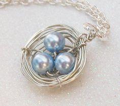 Love My Boys Silver Birds Nest Swarovski Pearls  by Kikiburrabeads, $20.00