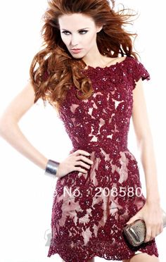 2013 New Style Cap Sleeve Beaded Lace Short Holiday Party Dress Cocktail Dresses E2070-in Cocktail Dresses from Apparel & Accessories on Aliexpress.com