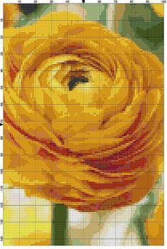 Cross Stitch Pattern Yellow Buttercup Ranunculus Garden Flower Cross Stitch Design Chart PDF File Instant Download