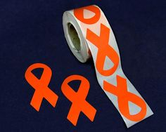 "Large Orange Ribbon Stickers - $9.00 250 count - 3"" h - Definitely want to get these! Wish they said MS Awareness on them or something to that effect. This site says their for leukemia awareness?"