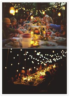"Twinkling lights :: strings of lights add warmth and a sense of ""closeness"" for a party with good food, close friends, and memorable conversations on a summer night"
