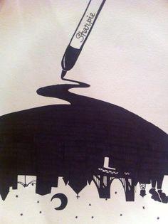 City sharpie art silhouette