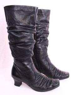 REIKER Black Leather Knee High Slouch Zip Comfortable Lynn Boots Women 39 8 8.5 #Reiker #KneeHighBoots