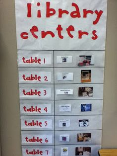Library Centers rotation chart from DCG Elementary Libraries