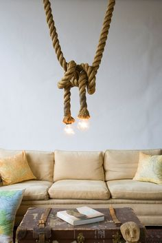 vintage / rough style, with a rope lamp by Atelier 688