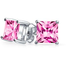 Bling Jewelry Think Pink Studs (2085 RSD) ❤ liked on Polyvore featuring jewelry, earrings, pink, stud-earrings, earring jewelry, pink earrings, stud earrings, studded jewelry and princess cut stud earrings