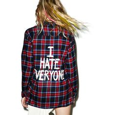 Jac Vanek I Hate Everyone Flannel Shirt featuring polyvore, women's fashion, clothing, tops, shirts, graphic tops, evening tops, graphic long sleeve shirts, graphic shirts and flannel shirts