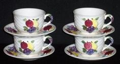 4 Vintage TILSO Fruit Cups & Saucers~Japan by amazinggrace for $10.00