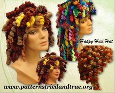 Temorary Price Slash Happy Hair Hat Crochet Wig Pattern, Cancer Patient Hat, Disguise a bad hair day, Crochet Wig Pattern, Crochet Yarn, Crochet Hooks, Crochet Patterns, Crochet Wigs, Crocheted Hats, Hat Patterns, Bad Hair, Hair Day