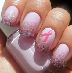 Breast Cancer Awareness mani using Essie - French Affair & OPI - Teenage Dream #nails