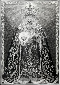 Santa Muerte by Laurie Lipton Alchemy, Grunge, Lipton, Amazing Drawings, Skull And Bones, Costume, Skull Art, Dark Art, Designer