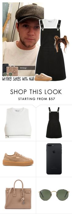 """""""Writing songs with Niall"""" by lottieaf ❤ liked on Polyvore featuring T By Alexander Wang, Oasis, Puma, Yves Saint Laurent, Ray-Ban, OneDirection and NiallHoran"""