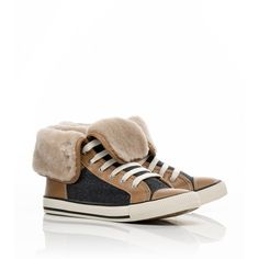 Tory Burch Benjamin Leather And Flannel High Sneaker ($275) ❤ liked on Polyvore