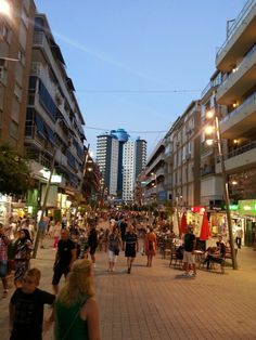 Walking in a crowded Benidorm