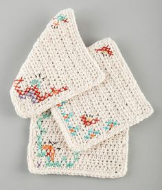 Dress up a basic crocheted dishcloth or washcloth with some embroidery with the fun shades contained in one pack of Bonbons!