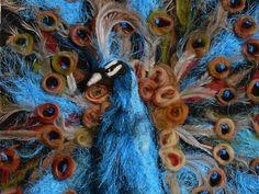 fibre art, peacock, needle felting