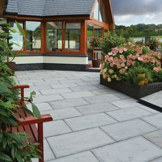 Light Grey Classic Sandstone Paving - This light grey natural sandstone paving slab has a light riven surface & hand cut edges. It is available in single size packs or a mixed size contractor pack. Sandstone Paving Slabs, Concrete Paving, Paving Stones, Brick Laying, Garden Paving, Tall Plants, Garden Pests, Growing Vegetables, Shade Garden