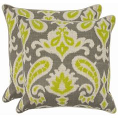 @Overstock - Reminiscent of the calico designs imported from India famously printed in by French artisans in Provence, the summer lime paisley motif of this accent pillow enlivens a soft and organic fabric of cotton and linen blend.http://www.overstock.com/Home-Garden/Paisley-18-inch-Grey-Lime-Decorative-Pillows-Set-of-2/7110207/product.html?CID=214117 $48.49