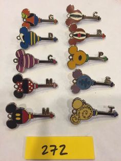 Lot of 10 Disney Hidden Mickey Character Key Pins