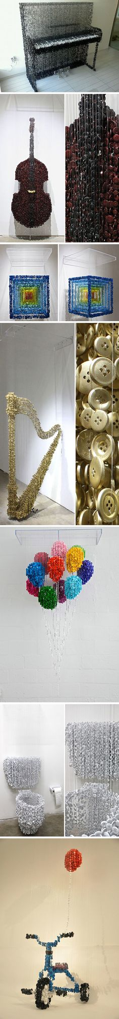 Sculptures-3D-Augusto-Esquivel-2. These sculptures made from hanging buttons are very cool. But, I would NOT want the job of making them!