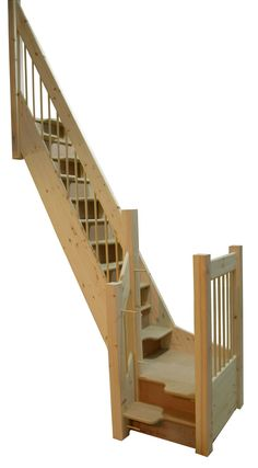 """Space-saving alternating tread staircase I love these....there are usually the same number of """"half treads"""" as there are full width treads in a standard staircase, so you don't have to step up so high and steeply as other small house stairs"""