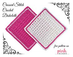 Do your washing up in style with these pretty crossed stitch crochet dishcloths. They're made with 100% cotton yarn for softness and washability. Great for gifts!