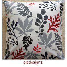 "NEW 24"" Decorative Modern Designer Cotton Pillow Cushion Cover Case Sham Slip Pillowcase Pillowsham Pillowslip Red Grey Black Blue Leaves. $24.00, via Etsy."