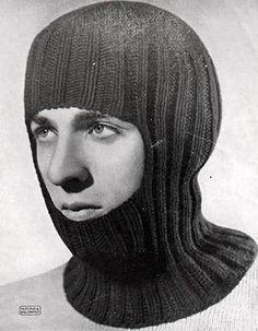 Free knitting pattern for a vintage style balaclava. This hat is knit in the rou. : Free knitting pattern for a vintage style balaclava. This hat is knit in the round with dk weight wool, a small section being knit flat to make the opening. Knitting Paterns, Knitting Books, Vintage Knitting, Loom Knitting, Free Knitting, Baby Knitting, Knit Patterns, Knit Hat For Men, Hats For Men