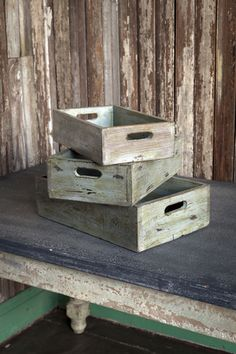 Set of 3 reproduction fruit crates