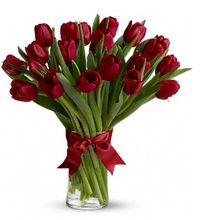 """Radiantly Red Tulips - DX, Beautiful and """"simply said"""" red tulips are a hip way to show you care.  Allen's Flower Market Reseda, Reseda Florist, Reseda Tulips.  http://www.pinterest.com/allensfmreseda/valentines-2014-at-allens-flower-market/"""