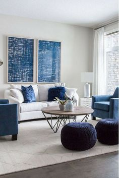 coastal living rooms Awesome Cute Monochrome Living Room Decoration You Must Have Blue Couch Living Room, Blue Living Room Decor, Coastal Living Rooms, Living Room Designs, Navy Blue And Grey Living Room, Living Area, Blue Couches, Navy Couch, Living Room Accent Chairs