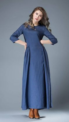 Lightweight and low maintenance, crisp and cooling linen is a getaway must. This cobalt blue linen lagenlook dress is the ultimate suitcase essential. Linen Dresses, Women's Dresses, Blue Dresses, Flowing Dresses, Long Sleeve Maxi, Maxi Dress With Sleeves, Half Sleeves, Cobalt Blue Dress, Blue Maxi