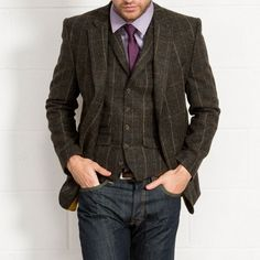 JIMMY BEE Tailored Fit Charcoal Tweed Check Blazer // Slater Menswear AW15