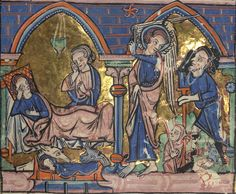 All sizes | Carrow Psalter, Above: Annunciation/Visitation; Below: Nativity/Annunciation to the shepherds, Walters Manuscript W.34, fol. 23r...