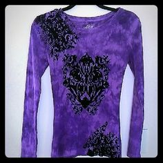 """Super Cute Top! Tie dye, pretty shade of purple, long sleeved top. Design on top is black velveteen feel. Great used condition. Not stretched out, no stains, etc. I wore it at most five times with skinny jeans.  Size M, 100% cotton. Sleeve pit to cuff is 18"""". Length shoulder to hem is 25"""".  This top is cute and has a long life ahead! Style & Co Tops Tees - Long Sleeve"""