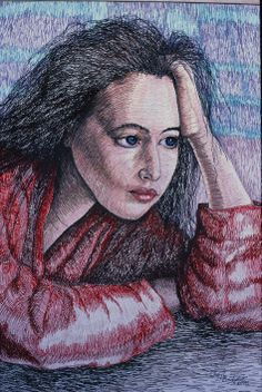 Bridgart's embroidered self portrait -thread only on canvas 50 x 70 cm