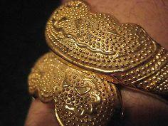 Etruscan Bracelet Cuff Vintage Toscana Italian Goldtone Signed Hinged Antique