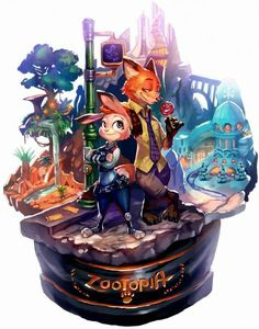 Zootopia - Nick Wilde x Judy Hopps - Wildehopps Disney Pixar, Disney Fan Art, Disney And Dreamworks, Disney Magic, Disney Movies, Nick Wilde, Film Anime, Cartoon As Anime, Cartoon Characters