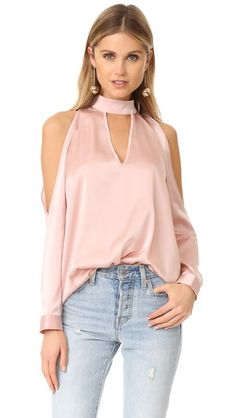 Vince Camuto Chiffon Flutter Cuff Satin Back Texture Blouse Lady Like, Girly Girl, Chic Outfits, Fashion Outfits, Fashion Clothes, Women's Fashion, Moda Formal, Casual Party Dresses, Pink Long Sleeve Tops