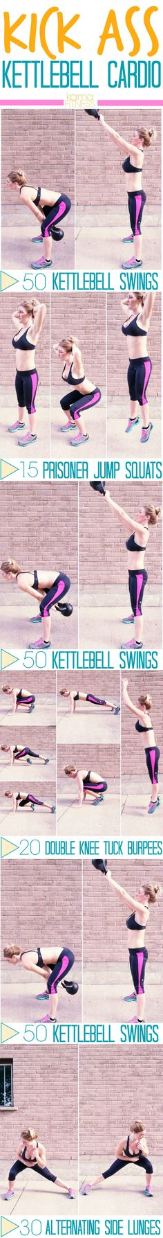 ***fave workout*** full body and cardio Kick Ass Kettlebell Cardio Workout by Kama Fitness Best Kettlebell Exercises, Kettlebell Cardio, Kettlebell Training, Kettlebell Swings, Cardio Workouts, Kama Fitness, Health Fitness, Sport, Cardio Equipment