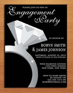 Engagement Ring / Classy Engagement Party Customized Printable Invitations /  DIY via Etsy