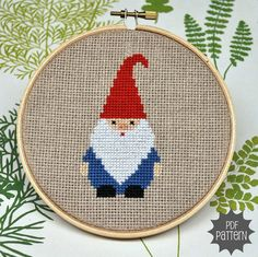 Gnome Cross Stitch Pattern Download, sent by email. $4.00, via Etsy.